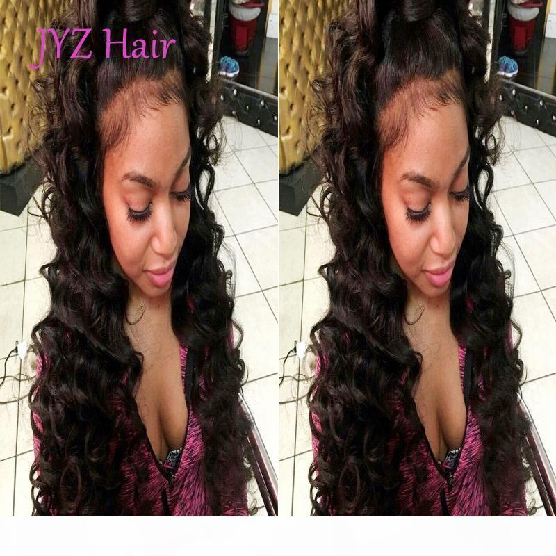 Completa humano laço perucas de cabelo de seda da onda profunda rendas frente Wigs índio brasileiro Malásia peruana Remy cabelo peruca de cabelo do bebê com