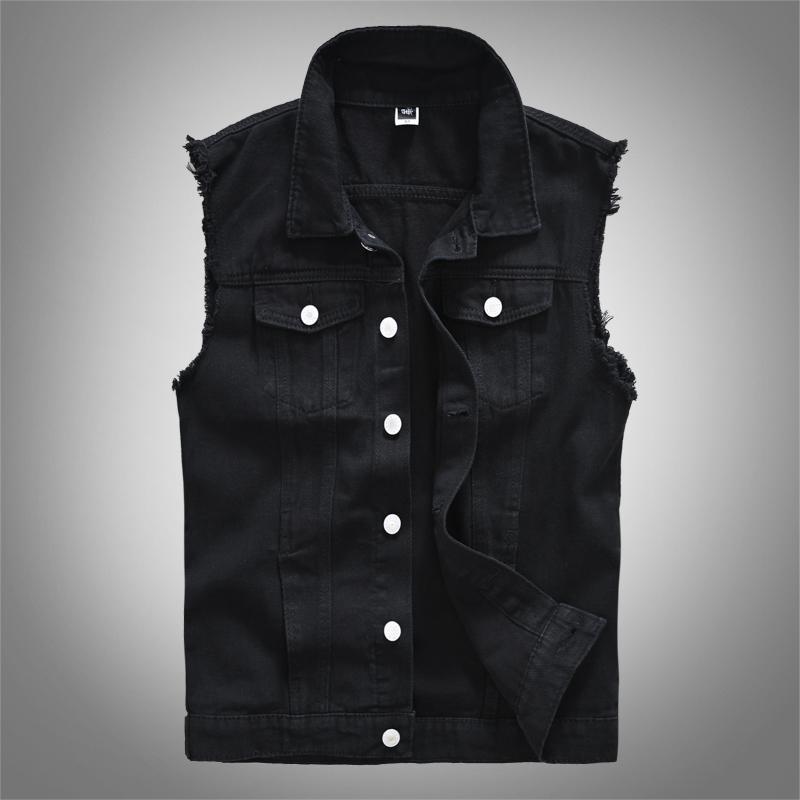 Mode coréenne hommes Gilet sans manches Denim Noir Blanc Manteaux Vestes Casual Streetwear Angleterre Style de Campus Petit ami Gilet Hombre T200910