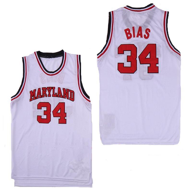 NCAA Men s 34 Leonard Bias Maryland Terrapins College Basketball Trikot Weiß Rot Gelb bestickt genähtes Trikots Len Pferd