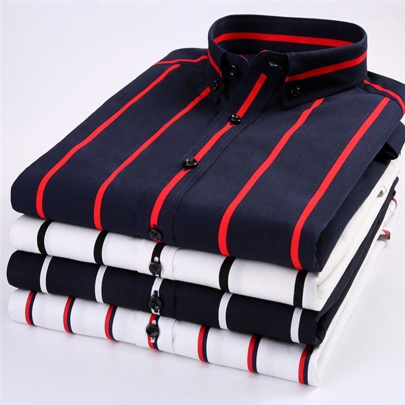 Смешать полосатая с коротким рукавом повседневные рубашки кнопки вниз Воротник Slim Fit Рубашки Бизнес New Summer Mens конструктора рубашки Хлопок