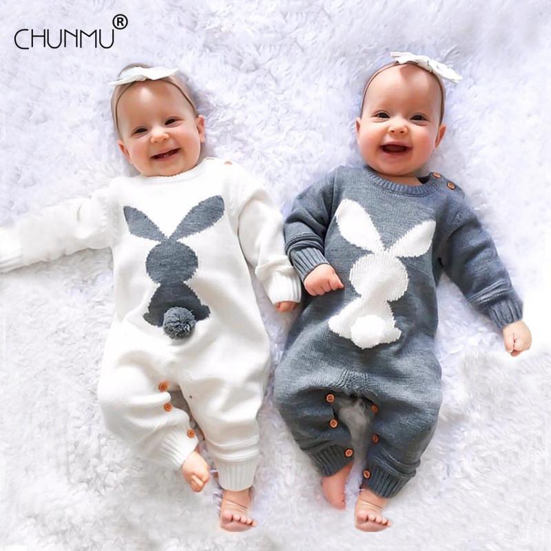 Sonbahar Kış Bebek Giyim Örme tulumları Bebek Rompers Moda Tavşan Kız Erkek Tulum Çocuk Kıyafet Yenidoğan Bebek Giyim 0917