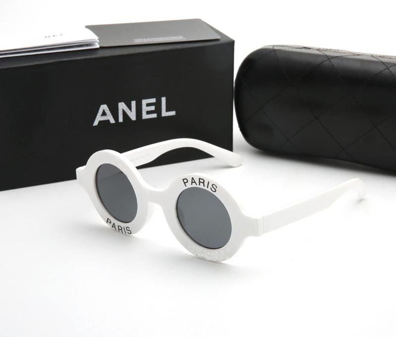 Mode White Gafas de Sol de Déséñador Touches de soleil rondes Femmes Full Cadre PC avec 5 couleurs Lunettes de soleil pour femmes