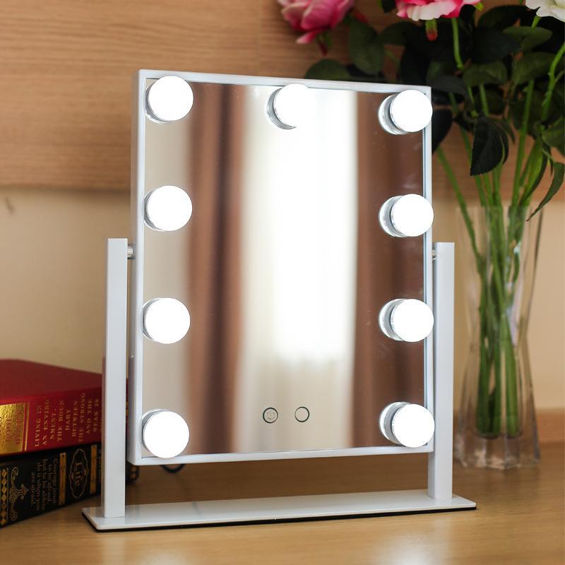 110-220V 27W branco / 360degree preto espelho de giro HD 3 vezes de ampliação LED Fill lâmpada espelho de luz Tricolor 25x30cm
