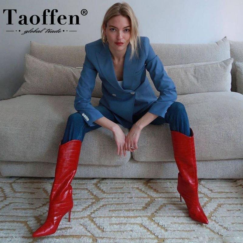 Taoffen más el tamaño 34-43 de las mujeres de tacón alto botas de fino patrón de la piedra del talón rodilla invierno de las mujeres de alta botas de la manera atractiva