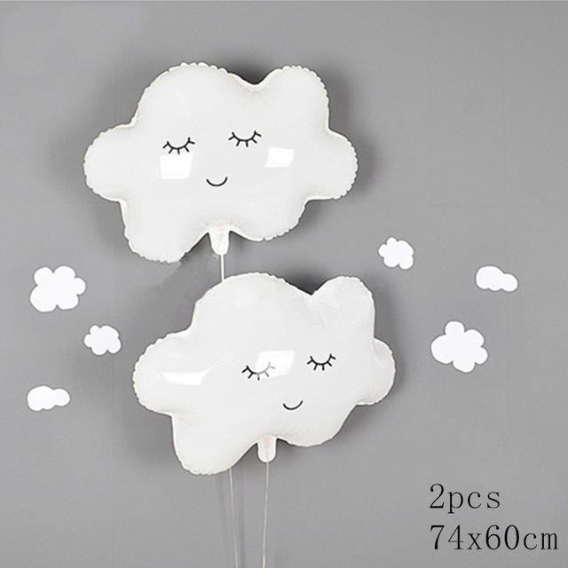 2pcs White Smiling Cloud Foil Balloon Helium Birthday Party Baby Shower Wedding Anniversary Decoration Party Supplies
