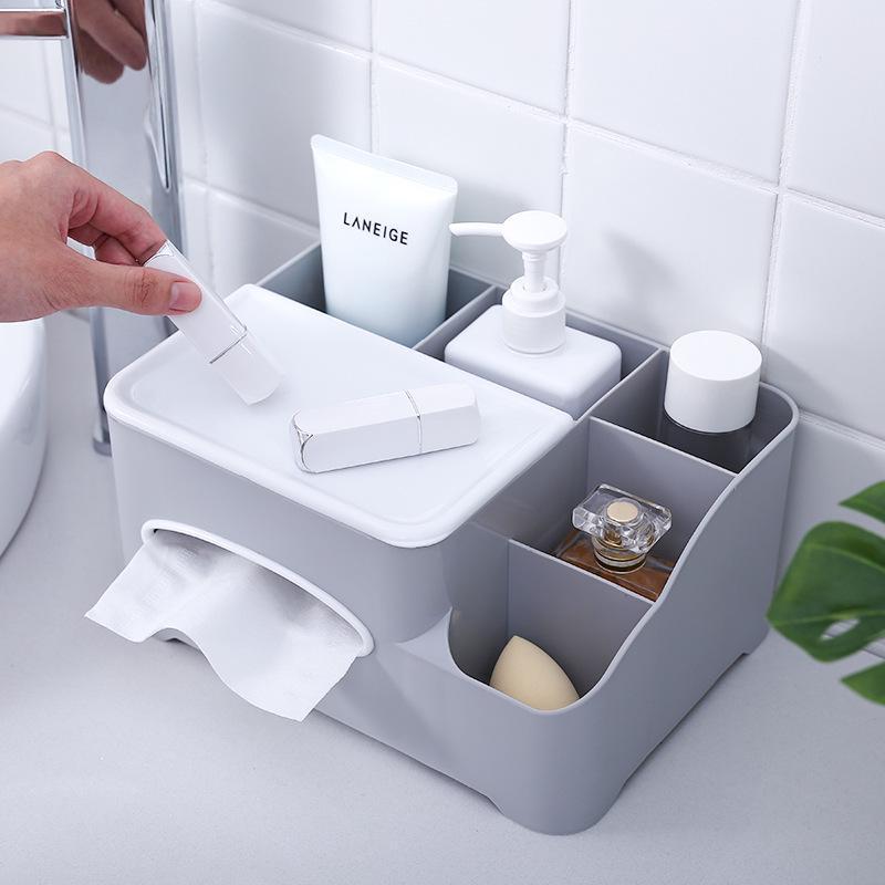 Tecidos multifuncional plástico toalha de papel Guardanapo Box Titular Caso Remote Control Desk Cosméticos Organizador Início Organização Escritório