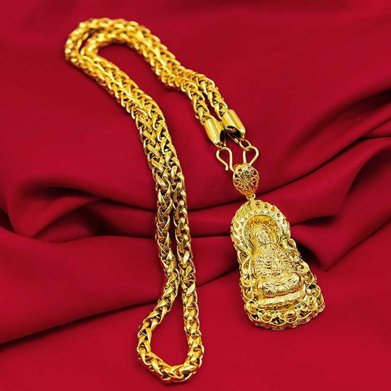 İçi boş Buda kolye kolye Sarı Altın Dolgulu Klasik Womens kolye Budist İnanç Aksesuarları Hediye