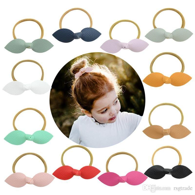Candy Colors Cat Ears Hairbands Kids Baby Girls PU Hair Barrette Children Little Girls Hair Clips Hair Accessories