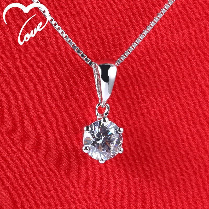 Six gros Prong Pendentif Couronne Simulation diamant Clavicule chaîne Fashion 925 Pendentif Collier cadeau