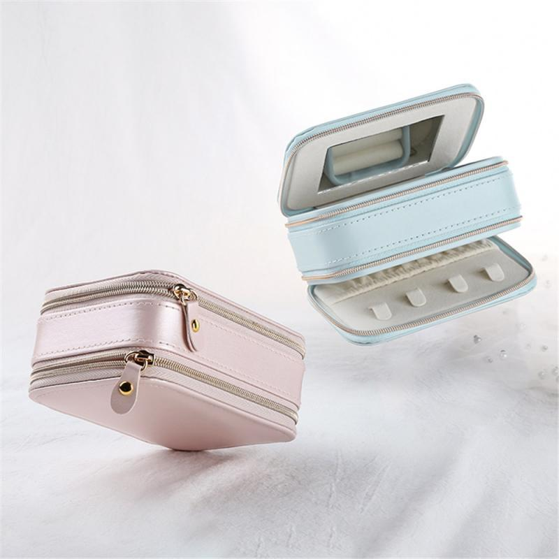 Jewelry Pouches, Bags Portable Box Travel Leather Storage Case Comestic Organizer Cases For Necklace Earring Display