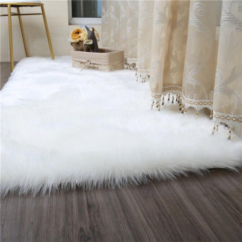 Blanco Falsa manta de la piel de imitación de piel de oveja suaves alfombras para sala de estar dormitorio grande Alfombras Shaggy felpa de pelo largo sólido Mat / alfombras Beaul AkBc #