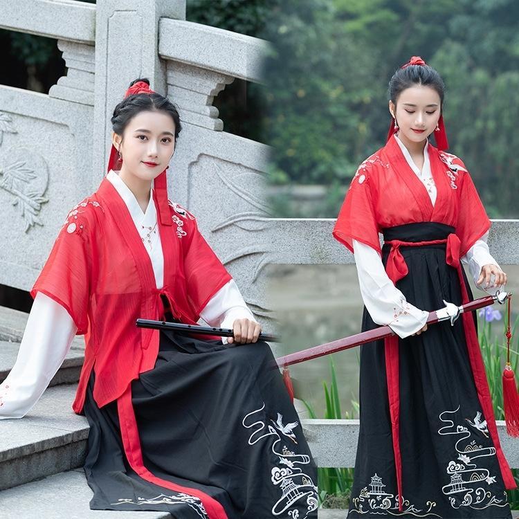 6e2e6 chino de manga larga vestido determinado estilo de artes marciales bordado estilo de vestir traje de cuello cruzado de tres piezas del estudiante de mujeres hanfu 1gML5