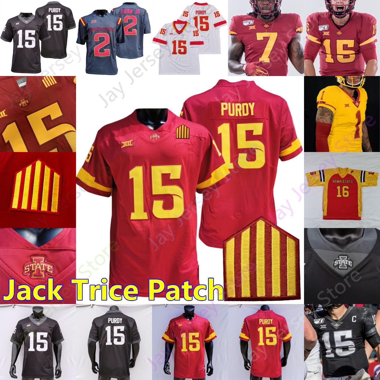 Personnalisé Iowa Etat Cyclones Football NCAA Jersey College Brock Purdy Hall Hutchinson Sean Shaw Jr. Allen Nwangwu McDonald IV Bankston