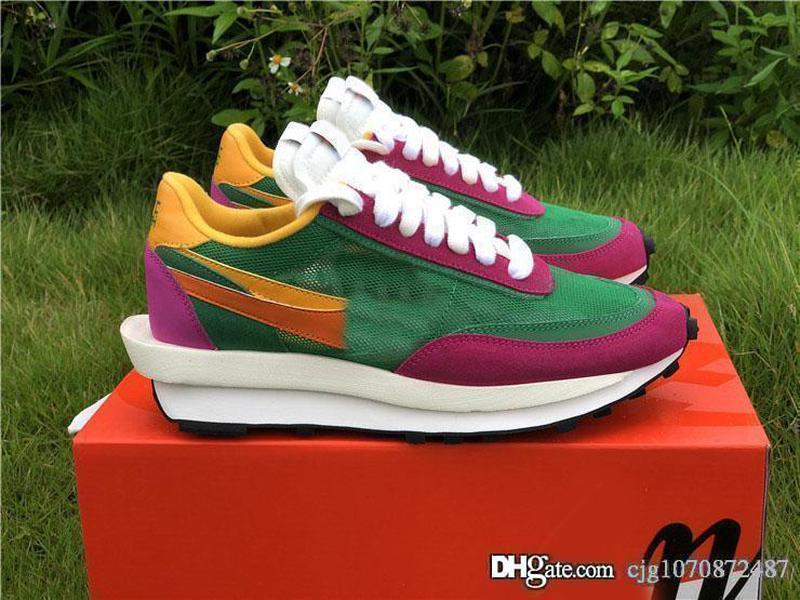 En Yeni Satış Otantik Sacai LDWaffle Çam Yeşil Erkekler Kadınlar Yeşil Gusto Siyah Antrasit Spor Sneakers BV0073-301 ile Kutu Koşu Ayakkabıları x