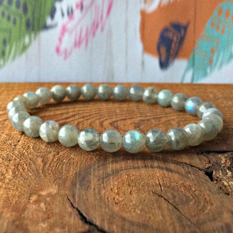 Yaratıcılık boncuklu için harika Kadınlar için MG0337 A Grand Labradorite İstifleme Bilezik Yoga Ruhsal Bilezik
