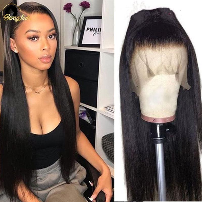 Swag 13x4 droite avant de dentelle perruque 34 36 38 40 pouces de long brésilien perruque de cheveux humains avec bébé cheveux pré plumé 250% pour Femme