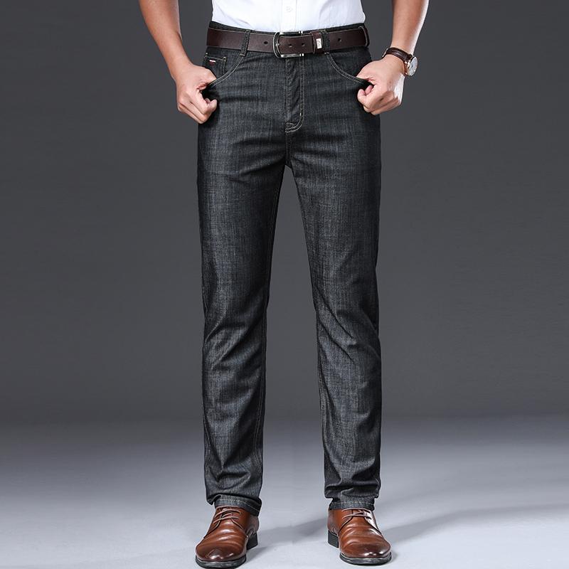 BROWON Marque 2020 Hommes Jeans d'été mince respirante douce Mid Homme Jeans Pantalons Droit régulier Vintage Hommes Vêtements