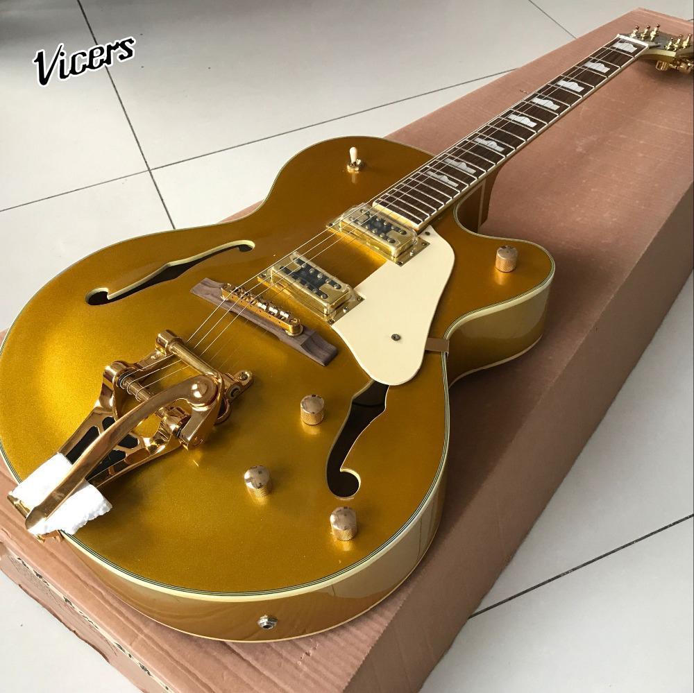Пользовательские F полый корпус джаз Электрогитара 6 строк, золото топ guitarra.support настройки gitaar