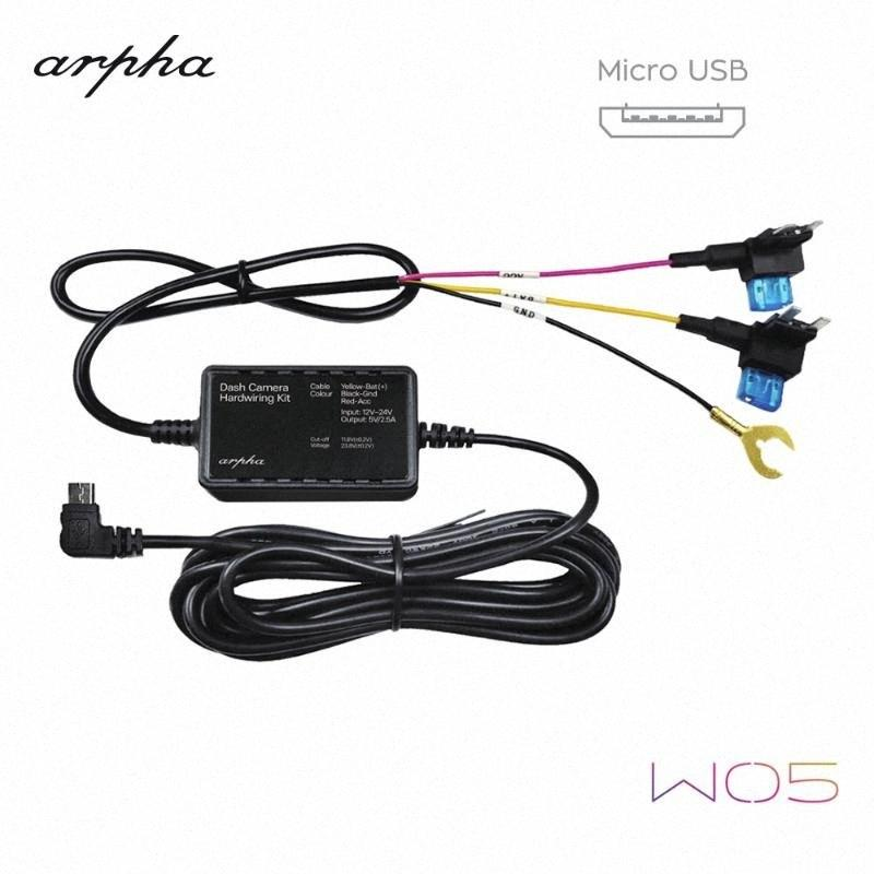 Arpha W05 Micro USB Hardwire Kit 12/24V to 5V DVR Power Adapter Cable for arpha W01 W02 Dash Cam Low Voltage Protection car G8R1#