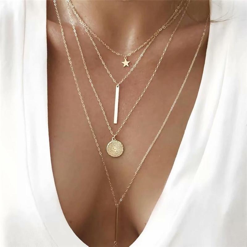 Collar colgante de Boho Modyle nueva vendimia multi-capa de oro de las mujeres collar de la estrella cuernos del metal Collar tribal