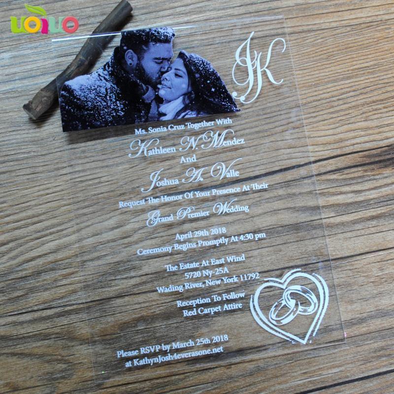 carte d'invitation de mariage d'impression de luxe faisant prix de la carte d'invitation en verre acrylique transparent découpé au laser