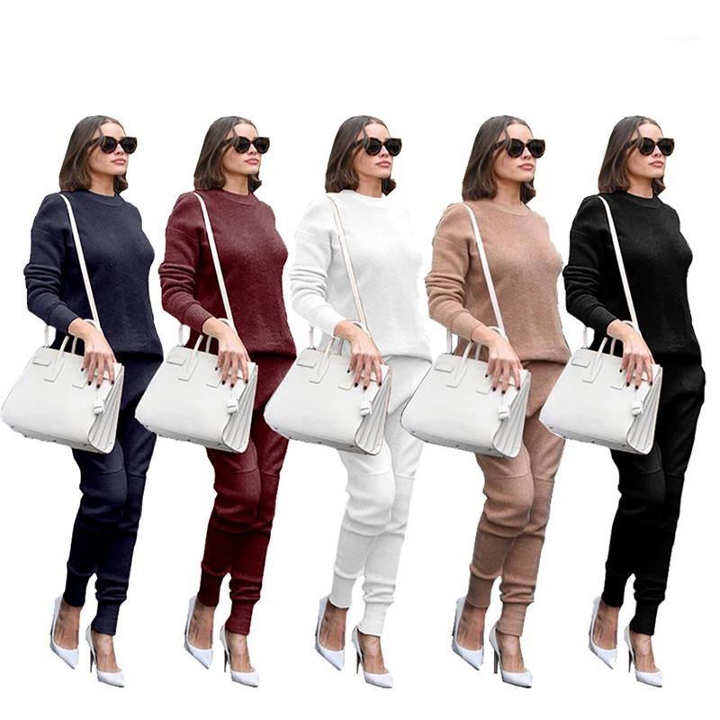 Günlük Bayan Katı Renk Spor Takımları Kış Kadın 2PCS Setleri Artı boyutu Gevşek O Yaka Uzun Kollu Bayan İki Adet Pantolon
