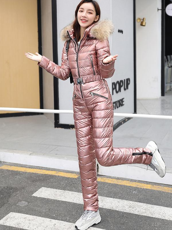 2021 One Piece Ski Suit Women Winter Fur Hooded Jumpsuit Cotton Padded Parka Jumpsuits Zipper Overalls Tracksuits Jacket Pants From Cumax 85 46 Dhgate Com