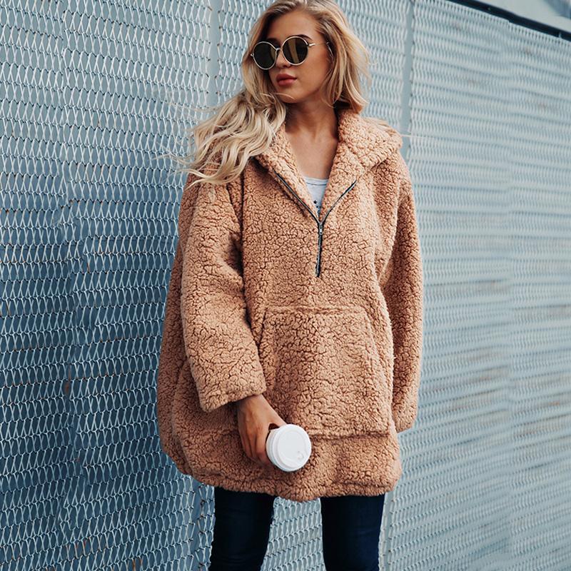 Sudadera con capucha de las mujeres del otoño del invierno de manga larga camello sudadera pulóver felpa de la cremallera de piel falsa de la camiseta más el tamaño mullido 6XL