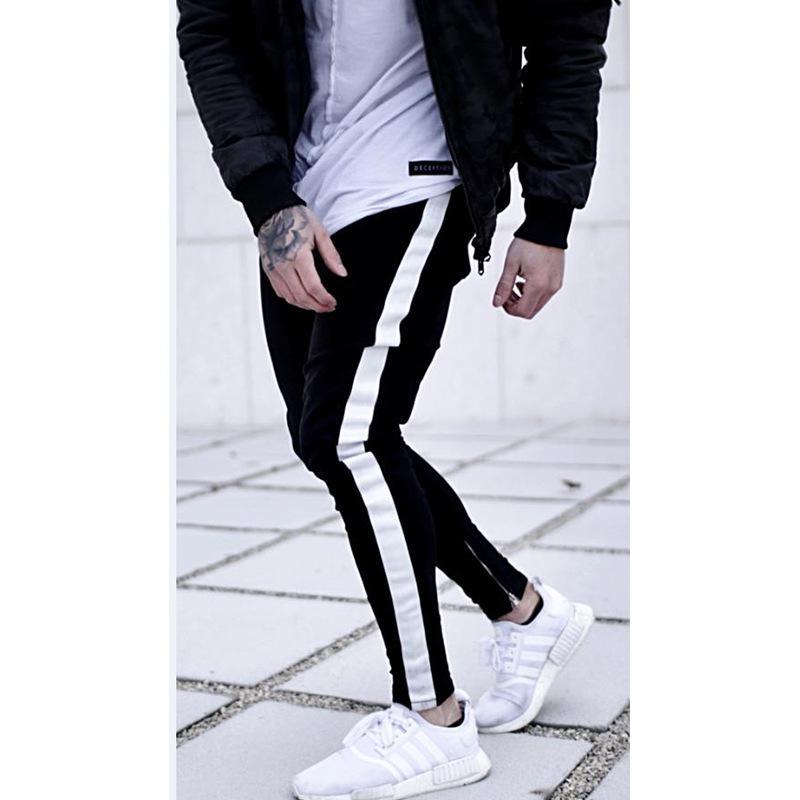 Mens Black Jean Long Trousers Pencil Denim Pants Side Stripe Street Elastic Washed Fashion Casual Fashion Hip Hop Washed Male Pants