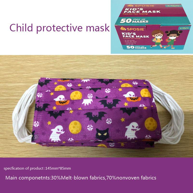 Halloween Disposable face masks kids adult designer facemask 3-layer cloth, 3 layers of protective clown student black masks english box