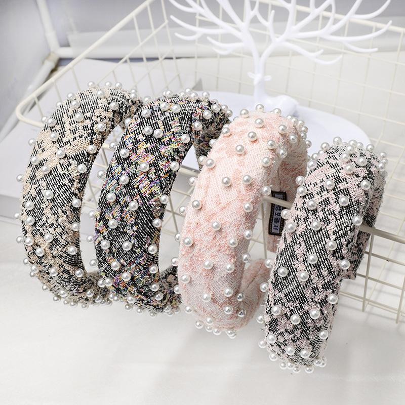 2020 Sponge vintage da jóia da pérola Hairband Para Mulheres Lã Bandas cabelo das meninas Headband Acessórios de cabelo diademas para el pelo mujer