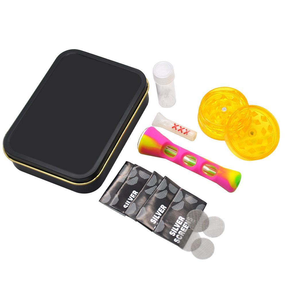 Tabakpfeife Kit Combo Black Case mit Muster Stick Silikon ein Hitter Metall Filterbildschirm Mini Mühle Rauchfilterspitze Raucher Pipe Set
