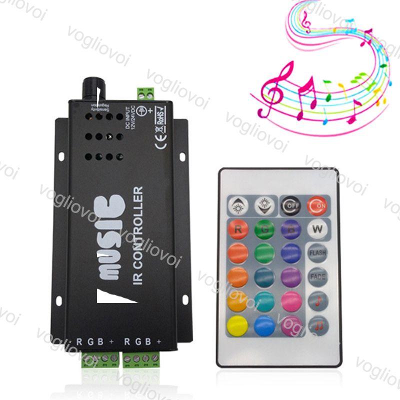 Controladores RGB Sensor de voz de música 24keys 3CH controlador remoto IR Acessórios de iluminação de ferro para 5050 3528 tira luz DHL