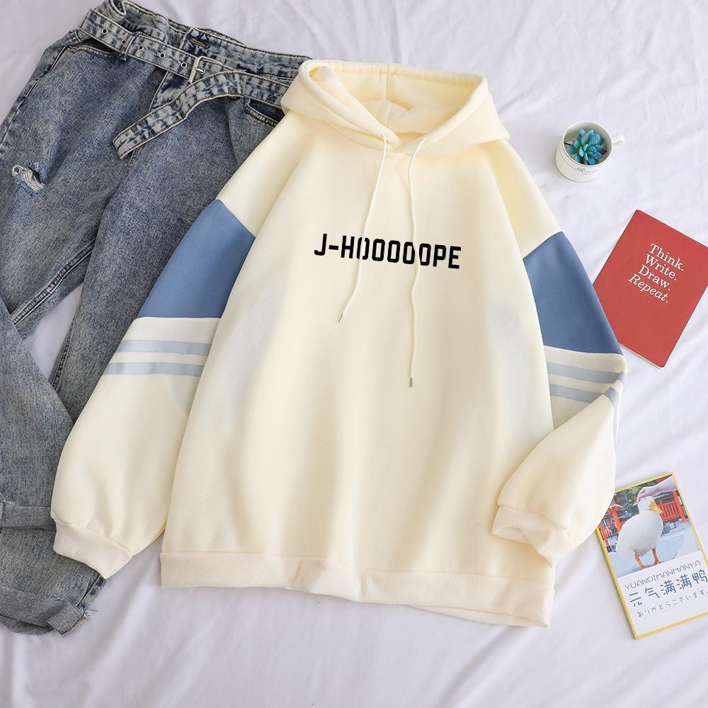 Bangtan Boy Kpop Kapüşonlular Casual Mektuplar J-HOOOOOPE Baskılı Kadınlar Kış Polar Sweatshirt Hoody Renk Patchwork Kazak Y200917 Hit