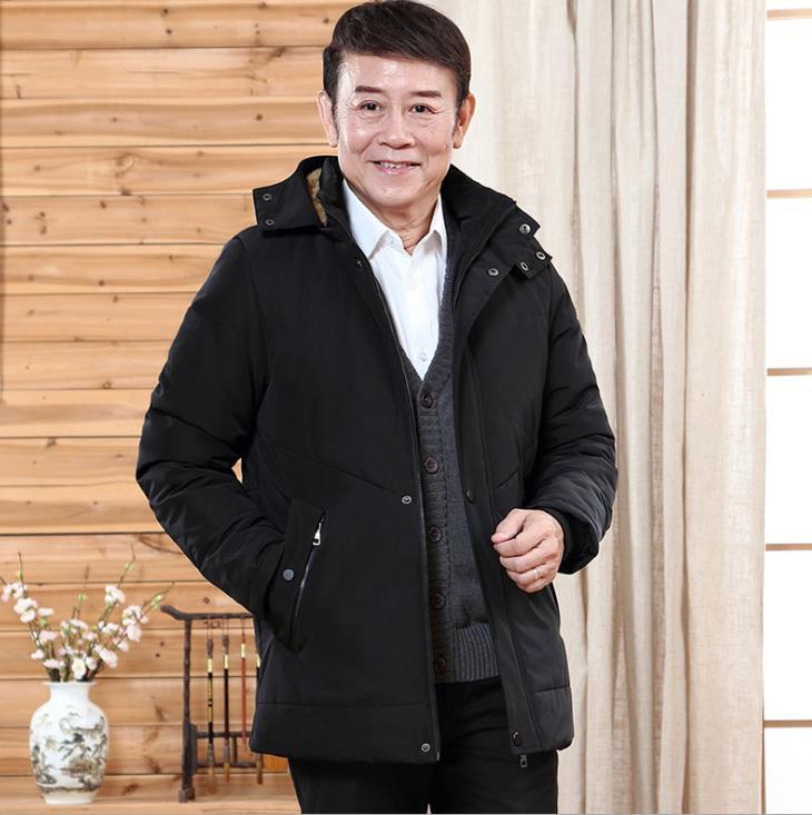 Hombres de invierno Diseñador abajo Parkas quincuagenario bolsillo con cremallera con capucha caliente capas gruesas prendas de vestir exteriores ocasional de la manera masculino