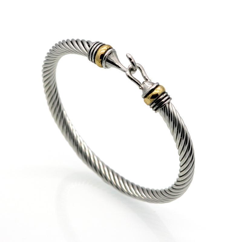 Atacado (10 pcs) moda titânio de aço inoxidável homens gancho pulseira ouro aço torção torção cabo pulseiras pulseiras pulseiras