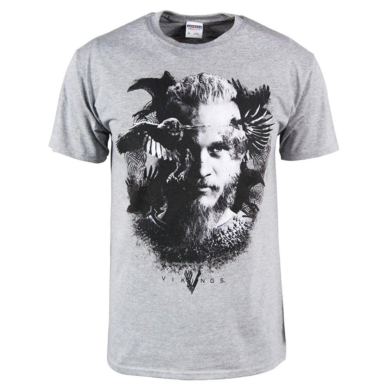 della Mens ufficiale Vikings serie televisiva Odin Raven maglietta Heather Grey T-shirt manica corta girocollo Uomini O-Collo