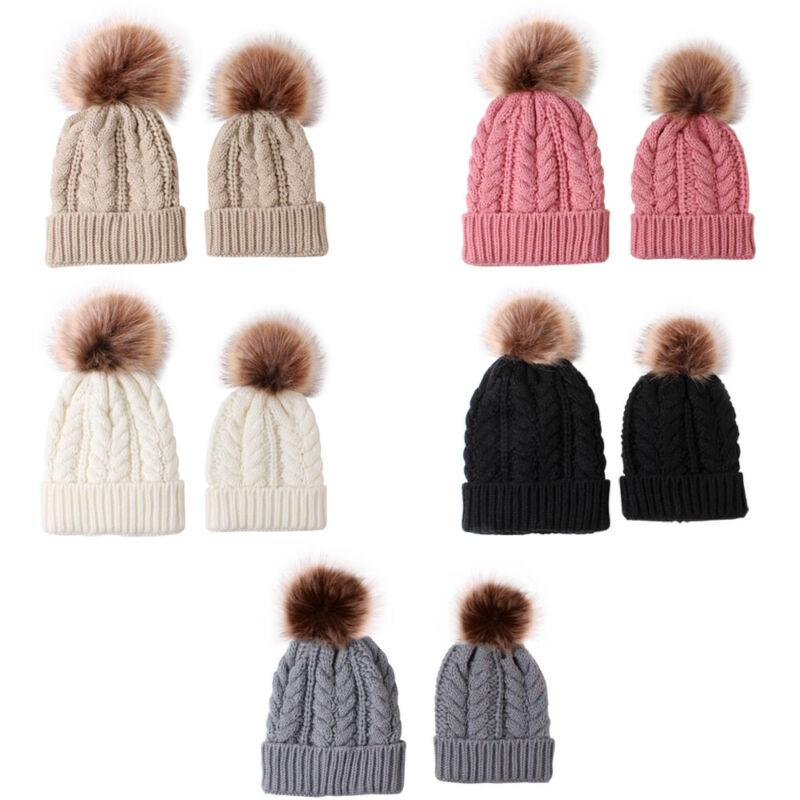 Kadınlar anne kızı Eşleştirme Örme Pom kasketleri Bobble Hat Çocuk Yetişkin Skullies Kış Sıcak Beanie Cap