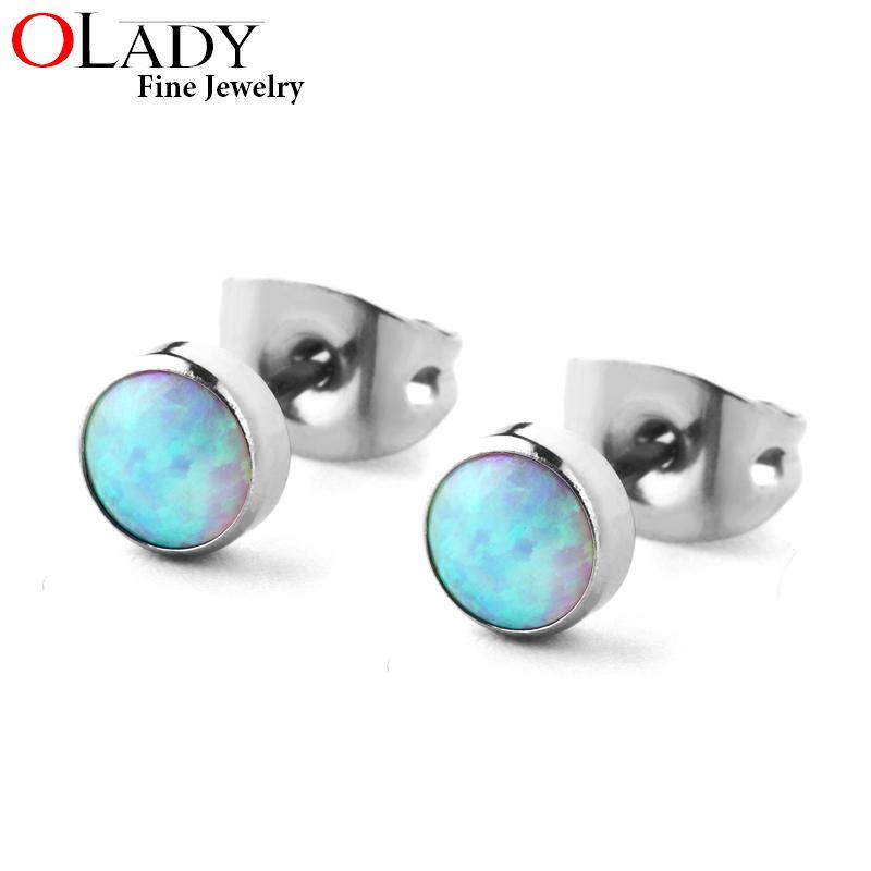 100% Titanium Stud Earring Minimalist 4MM 5 colors Round Opal 4MM/5MM sizes 99%Anti-allergic