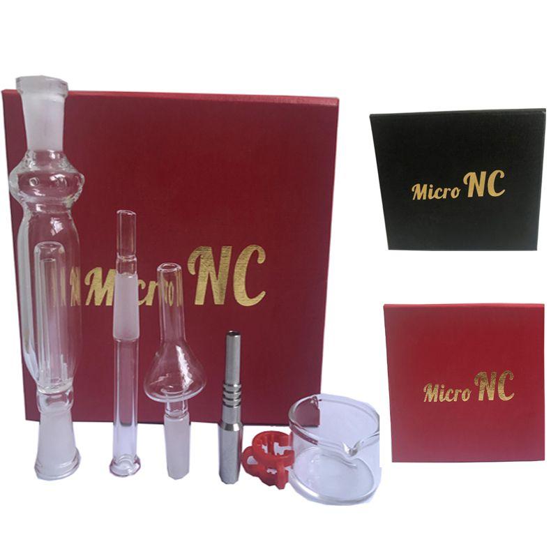 10 mm avec Nectar Collector titane et quartz clou joint plat tube en verre Mini 10 mm Lisse Hit kits Nectar Collector