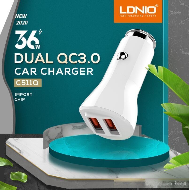 2020 LDNIO C511Q 36W qc3.0 caricatore per auto Dual USB DL-C29 3.4A caricatore per l'iphone Samsung HTC LG Xiaomi con cavo