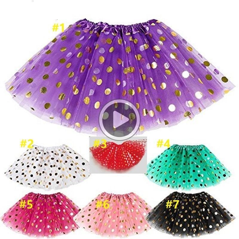 Top selling Baby Girls Gold Polka Dot Tutu Skirt Baby Clothes Tutus Dress Kids Skirts Toddler Skirts Red Infant Pettiskirt Newborn Photograp