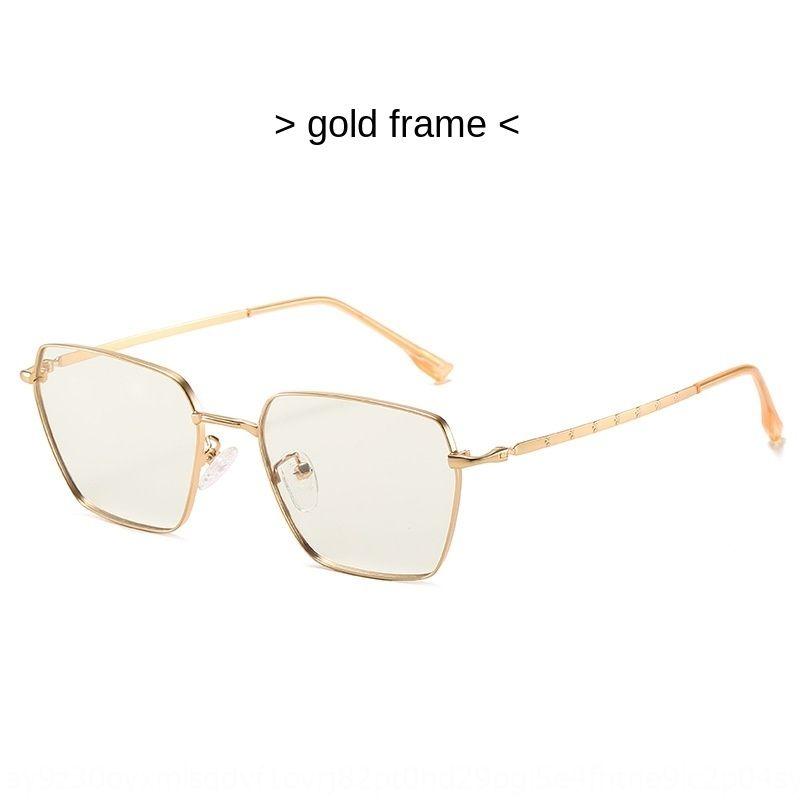 Laisser refroidir 84lPE changeant de couleur métal Coax lunettes anti-bleu des hommes et des femmes du même mode carré plaine de verres anti-bleu HD
