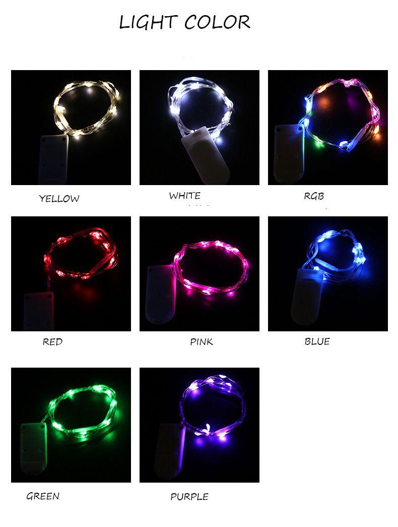 1M 10 PZ LED Strings Light LED Copper Wire Buttom Controller Festa di nozze Natale luce Capodanno decorazione del partito indoor all'aperto