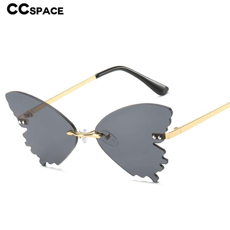 Hombres Gafas de sol 49060 Vintage Mujeres Butterfly Moda sin montura Moda Forma UV400 Gafas Medih