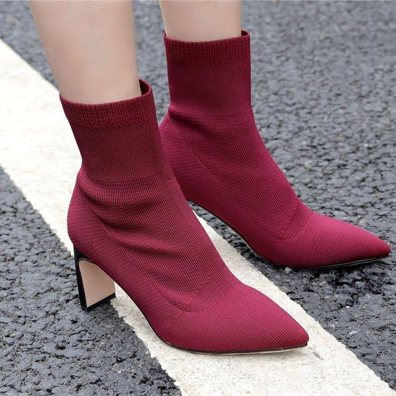 부츠 양말 여성 스트레치 뜨개질 광장 높은 뒤꿈치 발목 패션 블랙 와인 붉은 뾰족한 발가락 가을 겨울 숙녀 신발