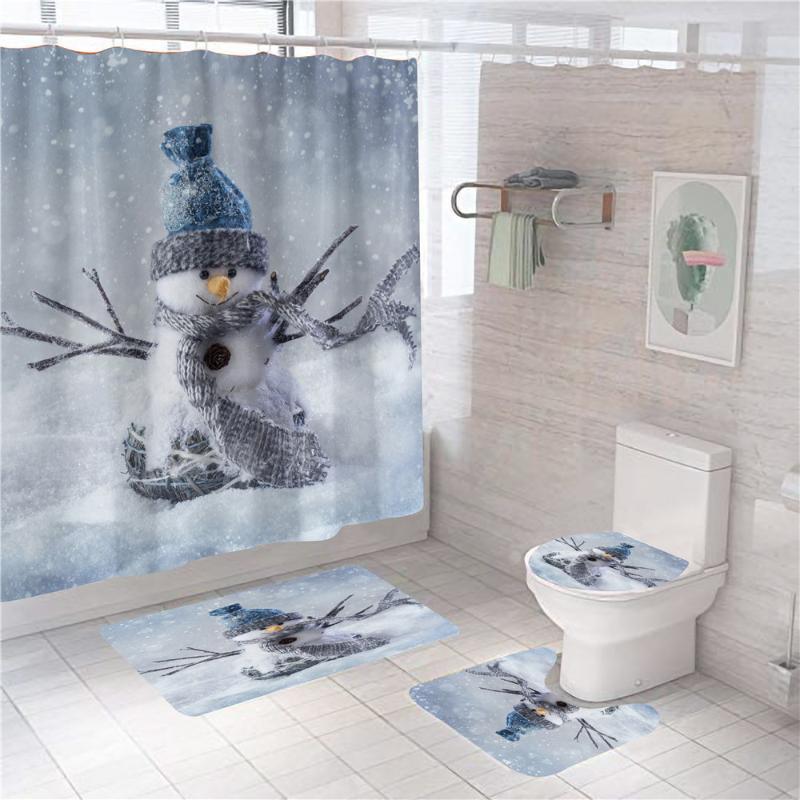 Weihnachtsschneemann-Duschvorhang 4 Stück Teppich-Abdeckung WC-Abdeckung Badmatte Pad Set Badezimmer-Vorhang mit 12 Haken