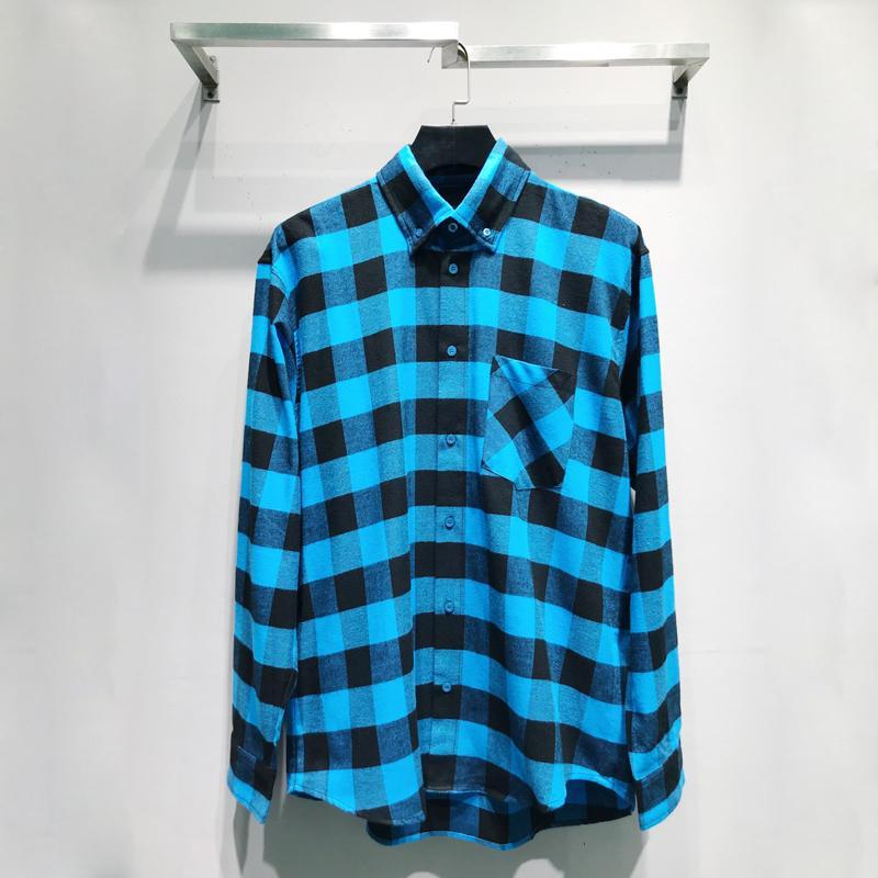 Mejor manera de las mujeres camisa de tela escocesa de los hombres de color a juego camisas chaqueta informal de primavera y verano Calle Otoño del enrejado camiseta Outwear HFYMCS036
