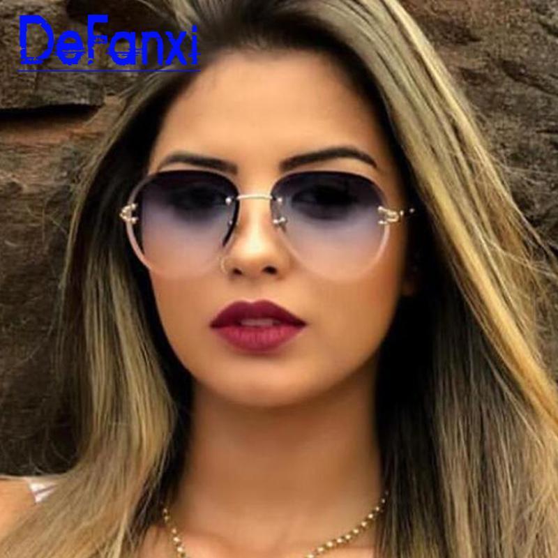 UV400 Randlose Gläser Frauen Mode Linse Brillen Ozean Sun Sonnenbrille Gradient Shades Damen Pilot Designer Frameless Metal Gapae