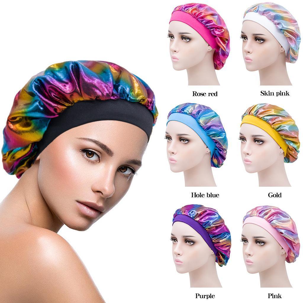 Heißer Verkauf Laser breite Krempe Nacht Turbane Bandanas hohe elastische perm Kappe Kopfbedeckung Stirnband-Haar-Abdeckung Zubehör
